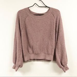Free People Fuzzy Bubble Sleeve Sweater Pink